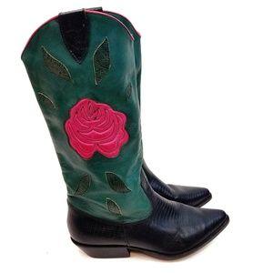 NINE WEST Brazilian Leather Croc Cowboy Boots 9